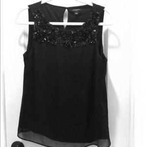 Ann Taylor sequin black tank top